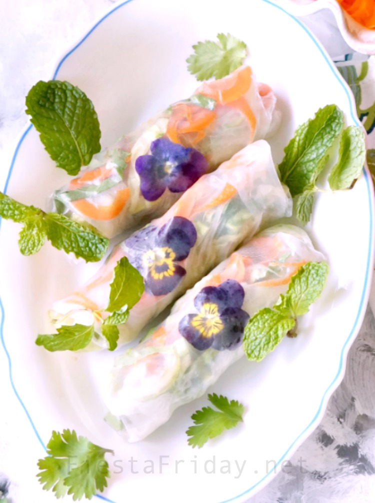 Summer Rolls with Edible Flowers | FiestaFriday.net