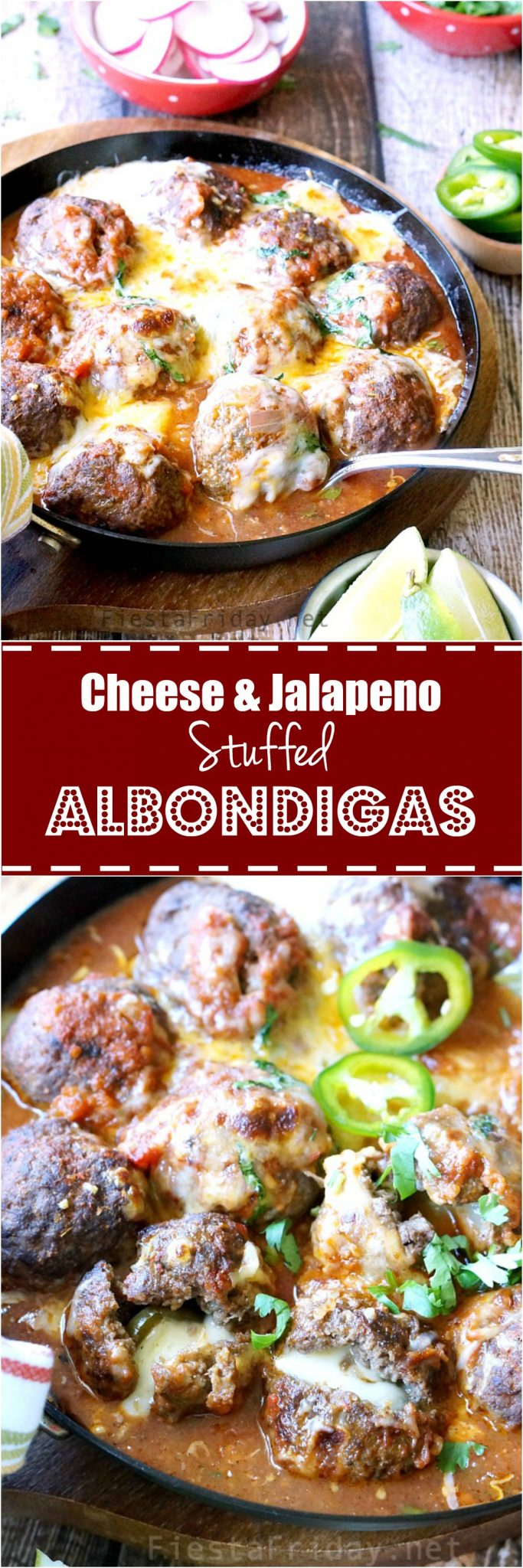 These albóndigas (Mexican Meatballs) are stuffed with jack cheese and pickled jalapeños, then simmered in roasted poblano tomato sauce. Can I hear you say Olé?! #albondigas #meatballs #cincodemayo #mexicanfood