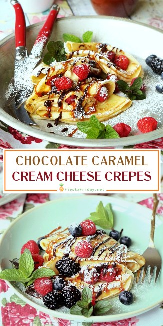 Crepes are not at all hard to make, despite its French name, and they can be made sweet or savory. In this recipe, filled with cream cheese and served with berries and chocolate as well as caramel sauce, they make the perfect Mother's Day breakfast or dessert! #crepes #chocolate #caramel #creamcheese #breakfast #dessert #snack #sweetsnack #easydessert