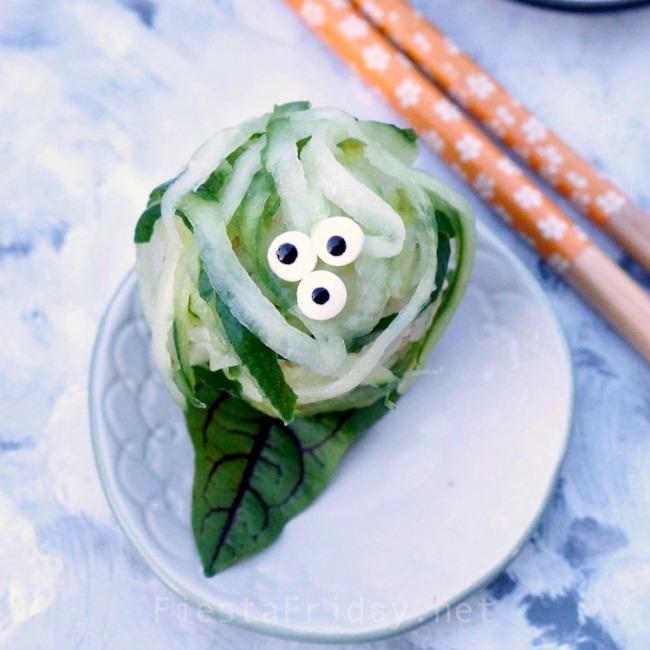 Avocado Cucumber Halloween Sushi Ball | FiestaFriday.net