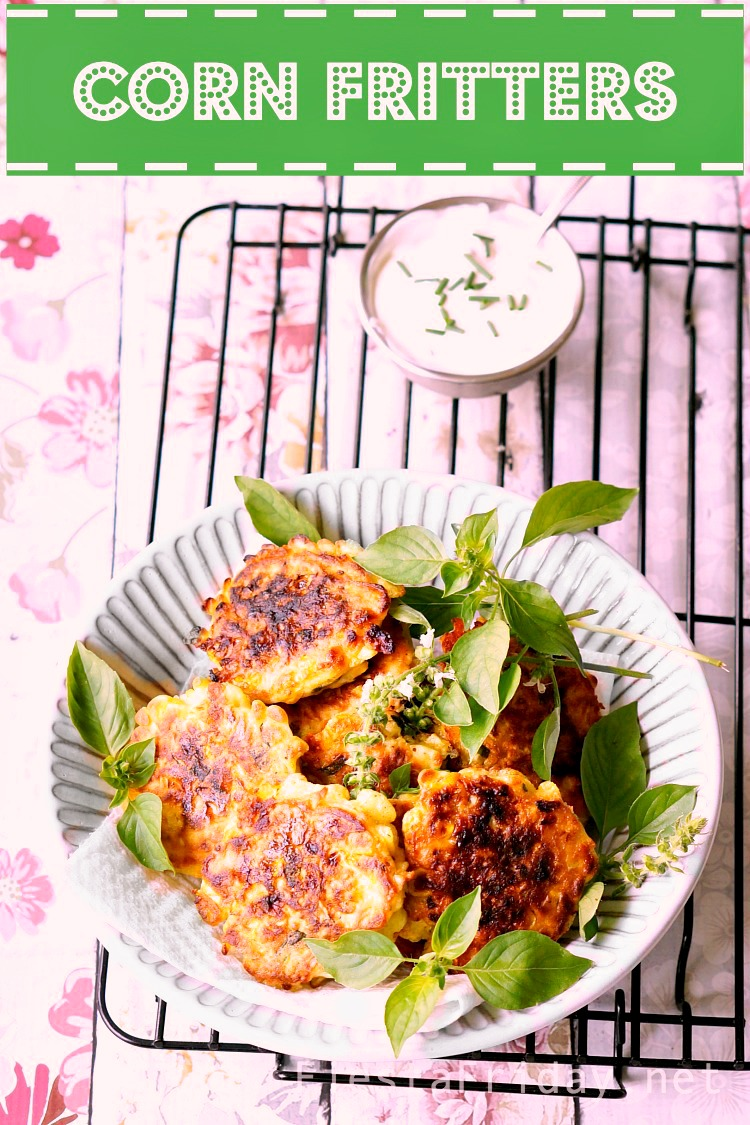 Cheesy and Crispy Corn Fritters that are best when made Gluten-Free with rice flour - a Thanksgiving appetizer or side. #Thanksgiving #holidayrecipe #corn #corn fritters #appetizer #sidedish #glutenfree #gf #vegetarian