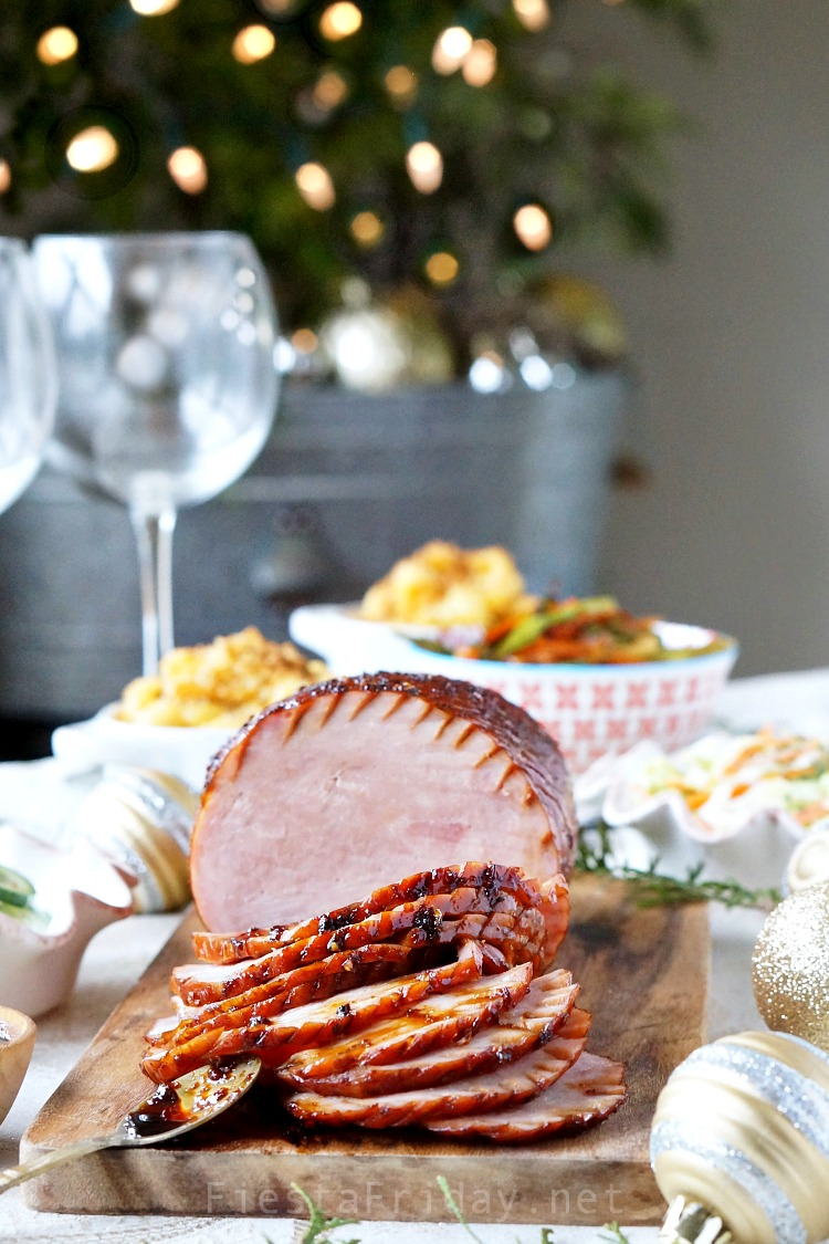 Holiday ham, made special with a uniquely tantalizing glaze of sweet soy sauce and chili paste that will elevate your traditional holiday dinner into a world-class experience! #ad #ham #holidaydinner #holidayrecipe #easyrecipe #Christmas #glazedham #HolidaysWithHatfield #simplyHatfield #CollectiveBias @hatfieldmeats @sofabfood