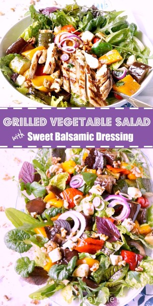 Grilled Vegetable Salad with sweet balsamic dressing. Serve it warm or cold, as a side or entree with grilled chicken. It's a family favorite! #fiestafriday #cleaneating #healthy #recipe #lowcarb #mediterraneandiet #vegetables #grilling