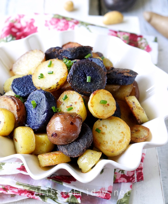 Red, White, and Blue Roasted Potatoes | FiestaFriday.net