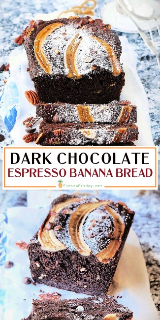 Dark Chocolate Banana Espresso Bread is your breakfast and morning coffee combined in a single bite. Yes, it appears you can have your coffee and eat it, too! #espresso #chocolate #darkchocolate #banana #bread #bananabread #banananutbread #pecan #breakfast #coffee