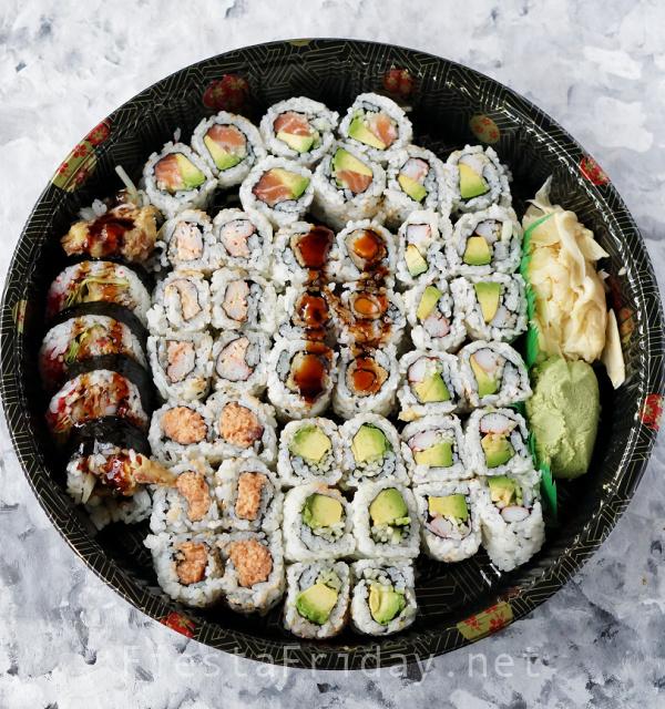Sushi Party Tray | FiestaFriday.net