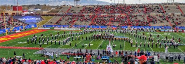 The Pride of Arizona (The UA marching band) made a block A during the pregame show.
