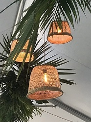 Ratten Shade with Antique Style LED Bulb