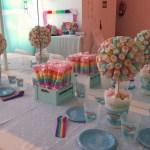 Decoración baby shower arco iris