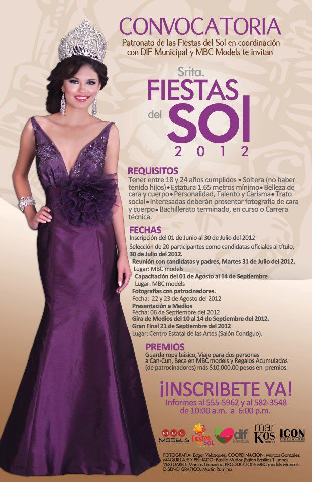 Convocatoria Señorita Fiestas del Sol 2012