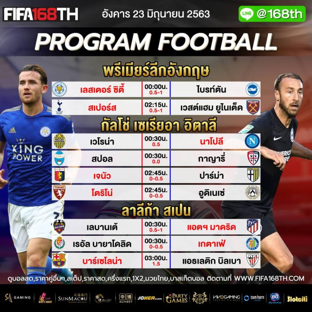 ราคาบอล FIFA55 วันอังคารที่ 23 มิถุนายน 2563