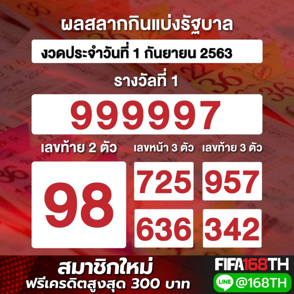 ผลหวยไทย 1 กันยายน 2563