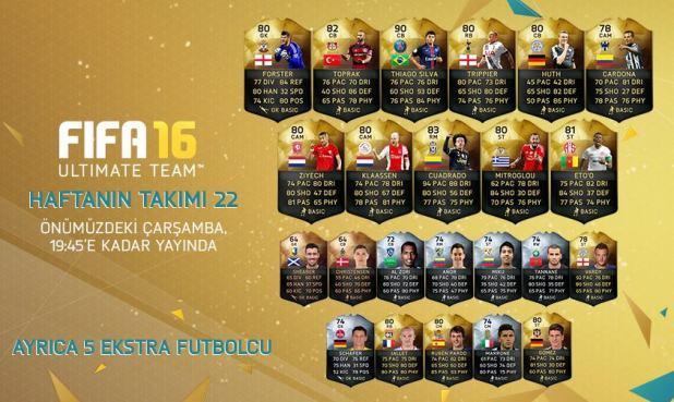 FIFA 16 Ultimate Team - Haftanın Takımı 22
