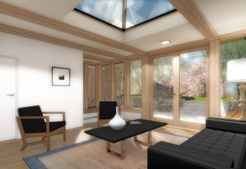Oak frame extension with lantern roof