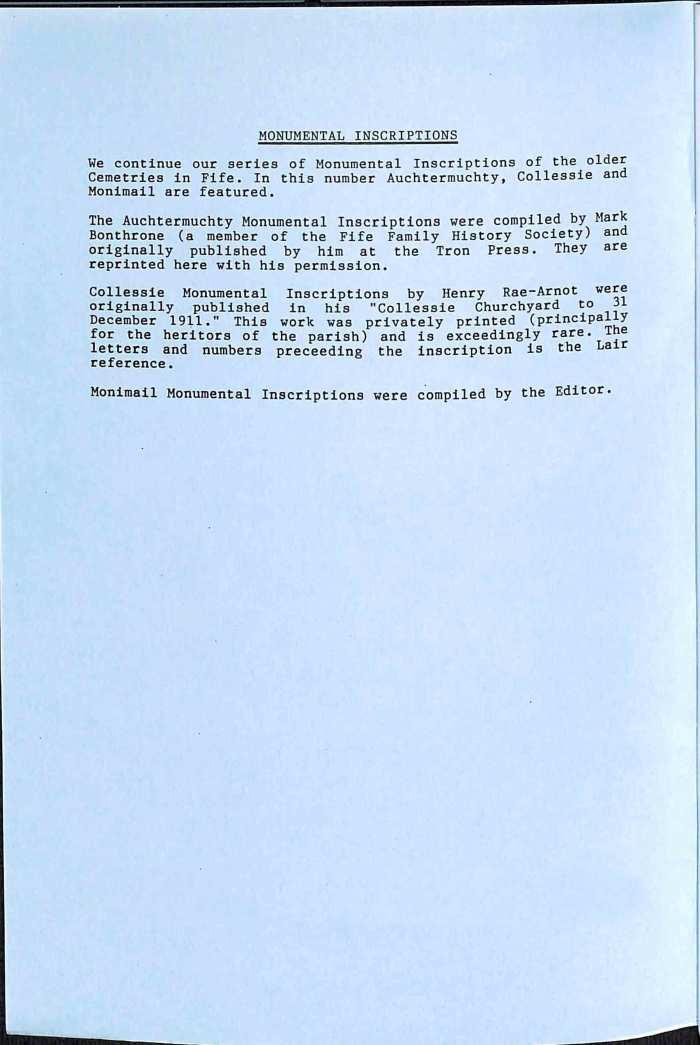 Publication No 17, Monumental Inscriptions, Contents