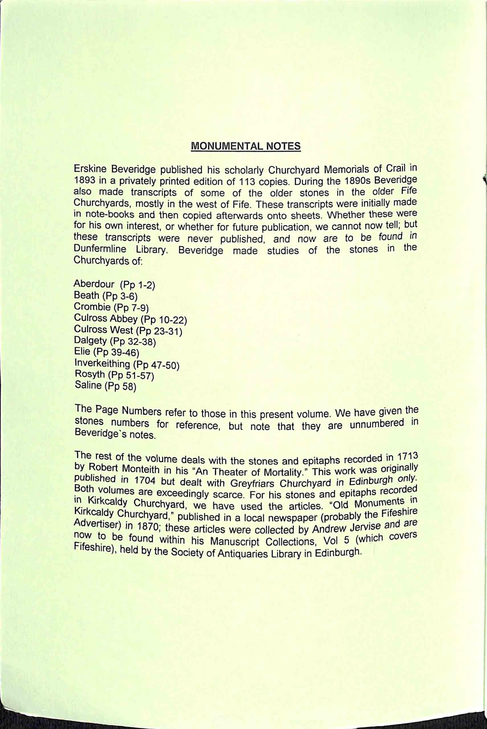Publication No 37, Monumental notes. Contents