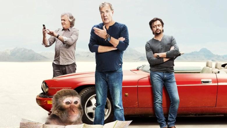 a red car, 3 men