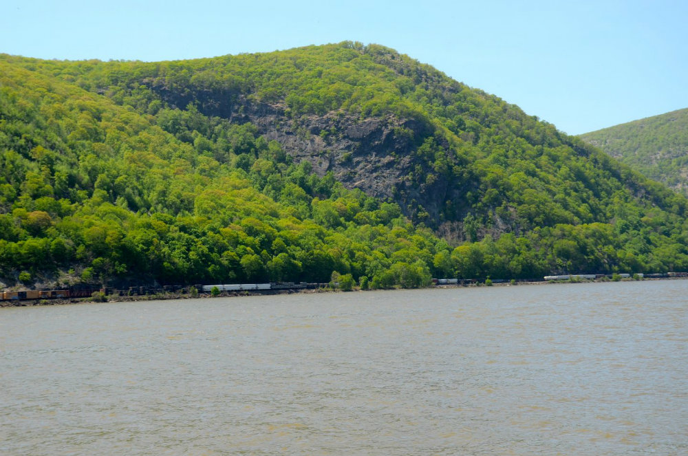 Watching the train go by along the Hudson River in Cold Spring, NY.