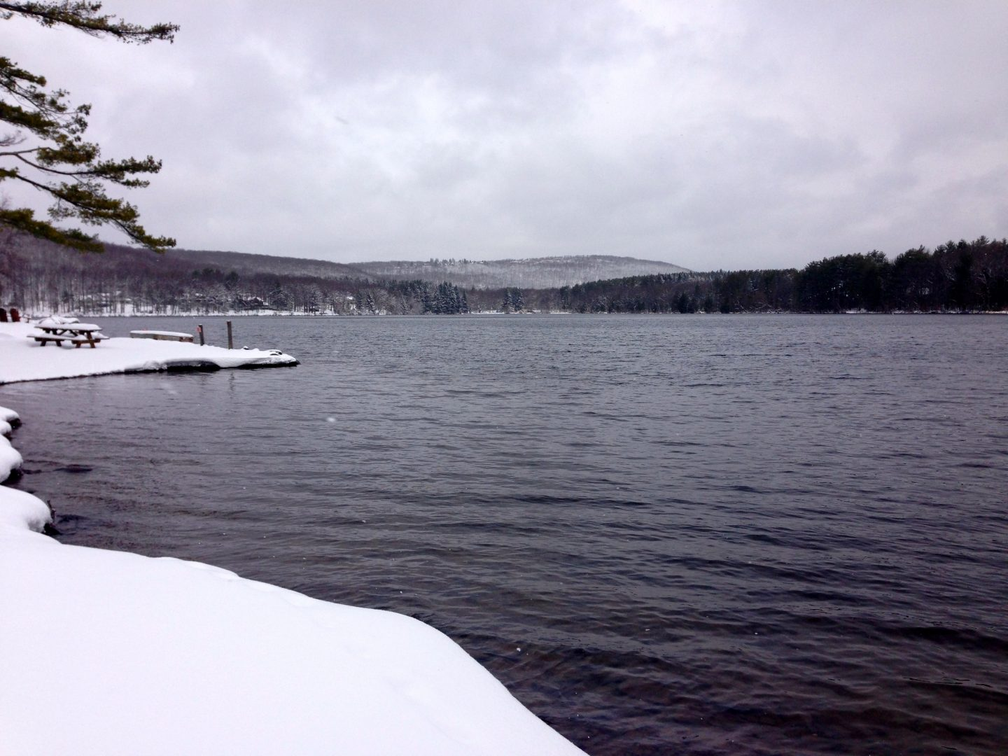 Taking a winter walk around the lake at Skytop Lodge in Penssyvania.