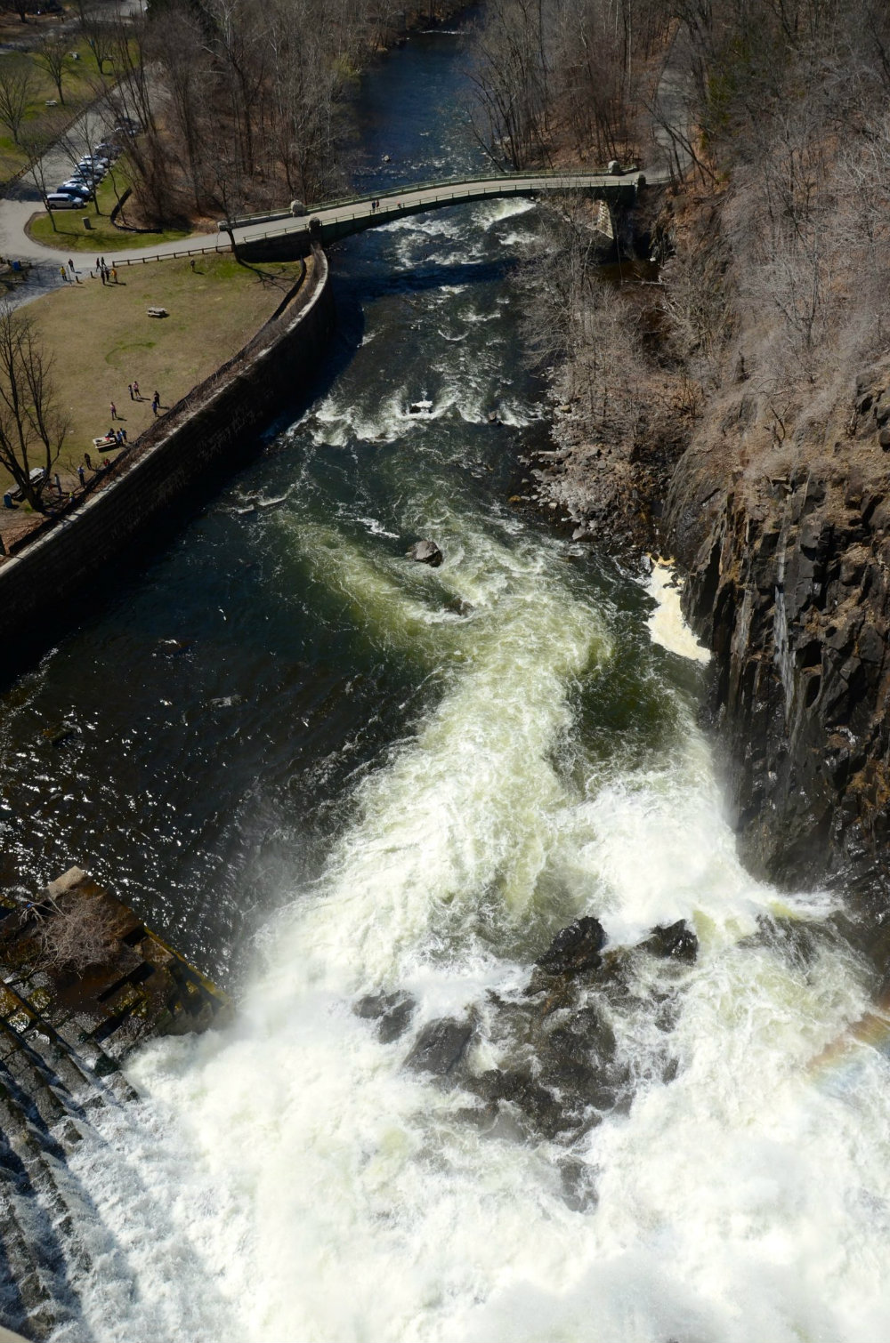 Looking down at the waterfall at New Croton Dam in Westchester, New York.