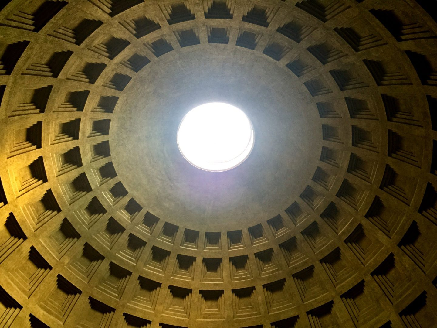 Looking up at the Pantheon in Rome.
