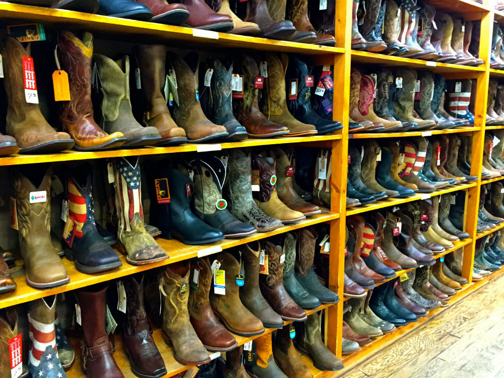 Shopping for cowboy boots in Steamboat Springs, Colorado.
