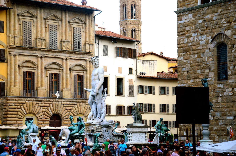 Statues all around in the piazza della Signoria in Florence Italy.
