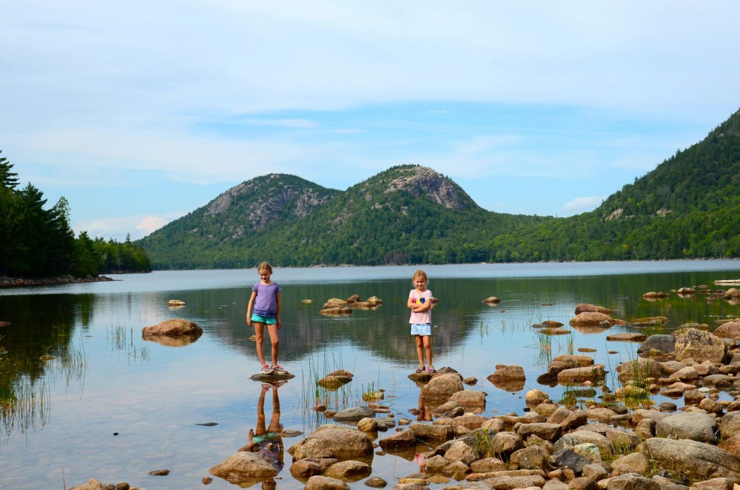 Playing on the rocks at Jordan Pond in Acadia National Park