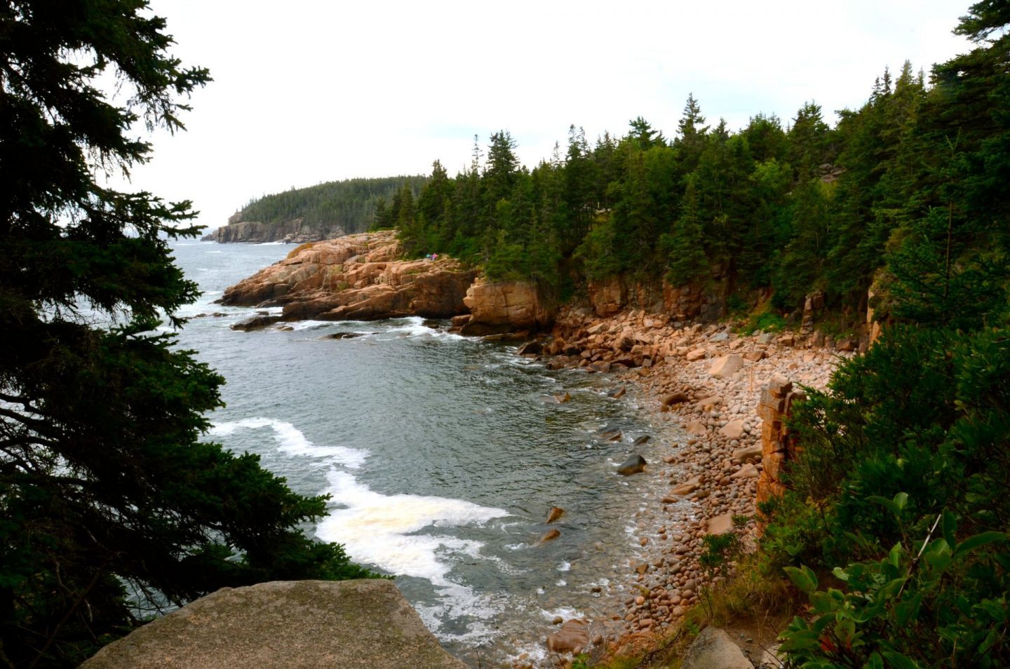 Walking on the dramatic Ocean Path at Acadia National Park