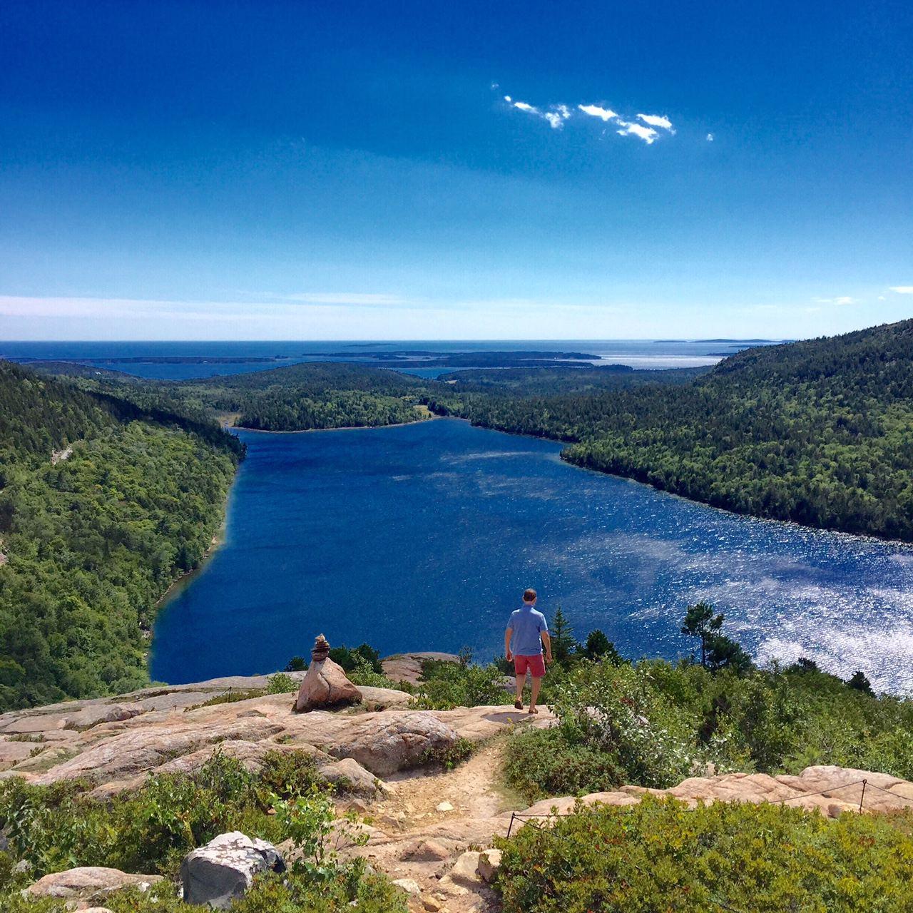 View of pristine Jordan Pond at Acadia National Park