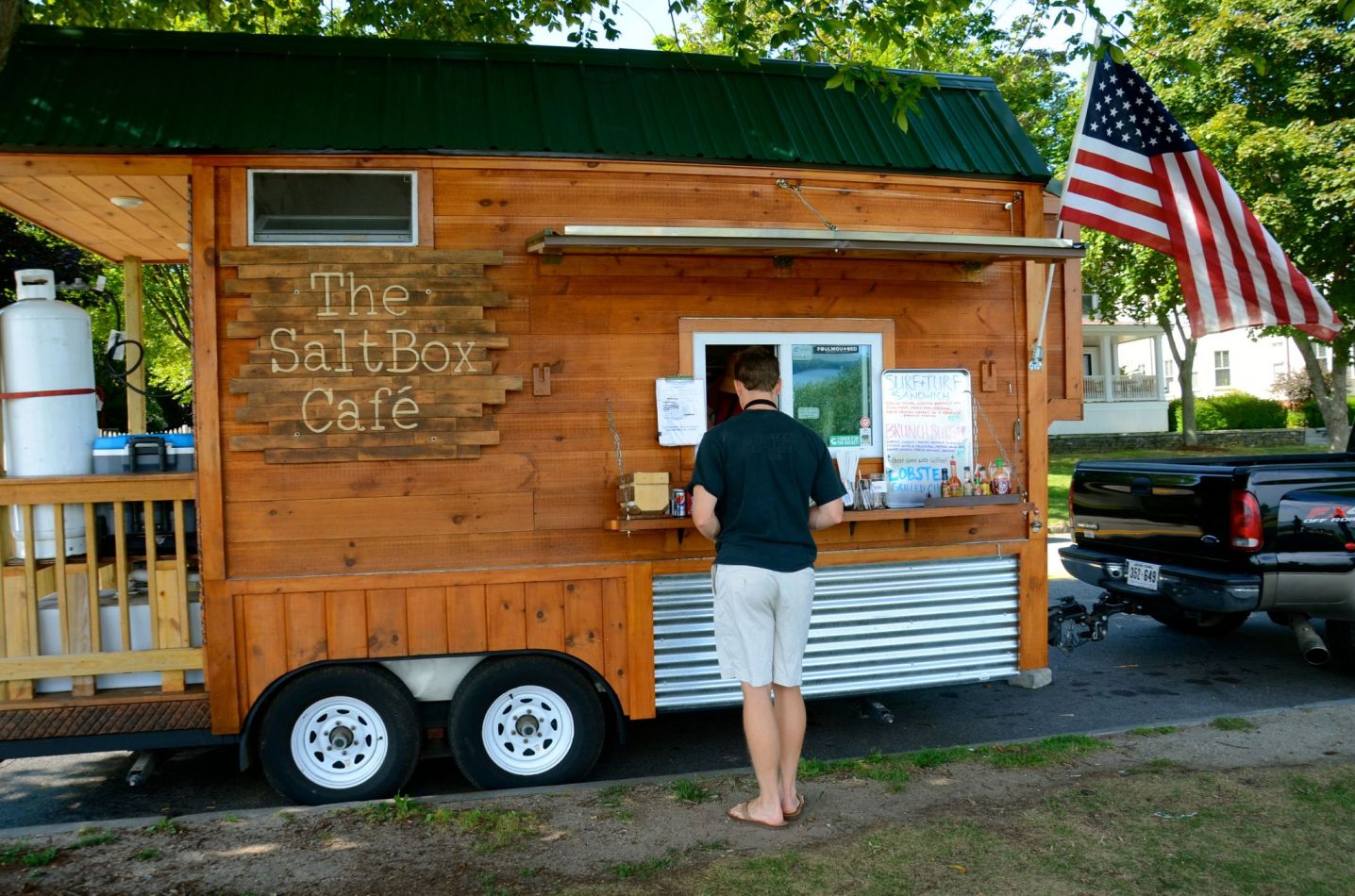 Eating at the food truck at the Eastern Promenade in Portland, Maine