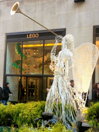 Angle viewing in Rockefeller Center in Christmas time in New York.