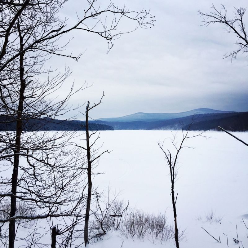 Snow covered Harriman Reservoir in Vermont