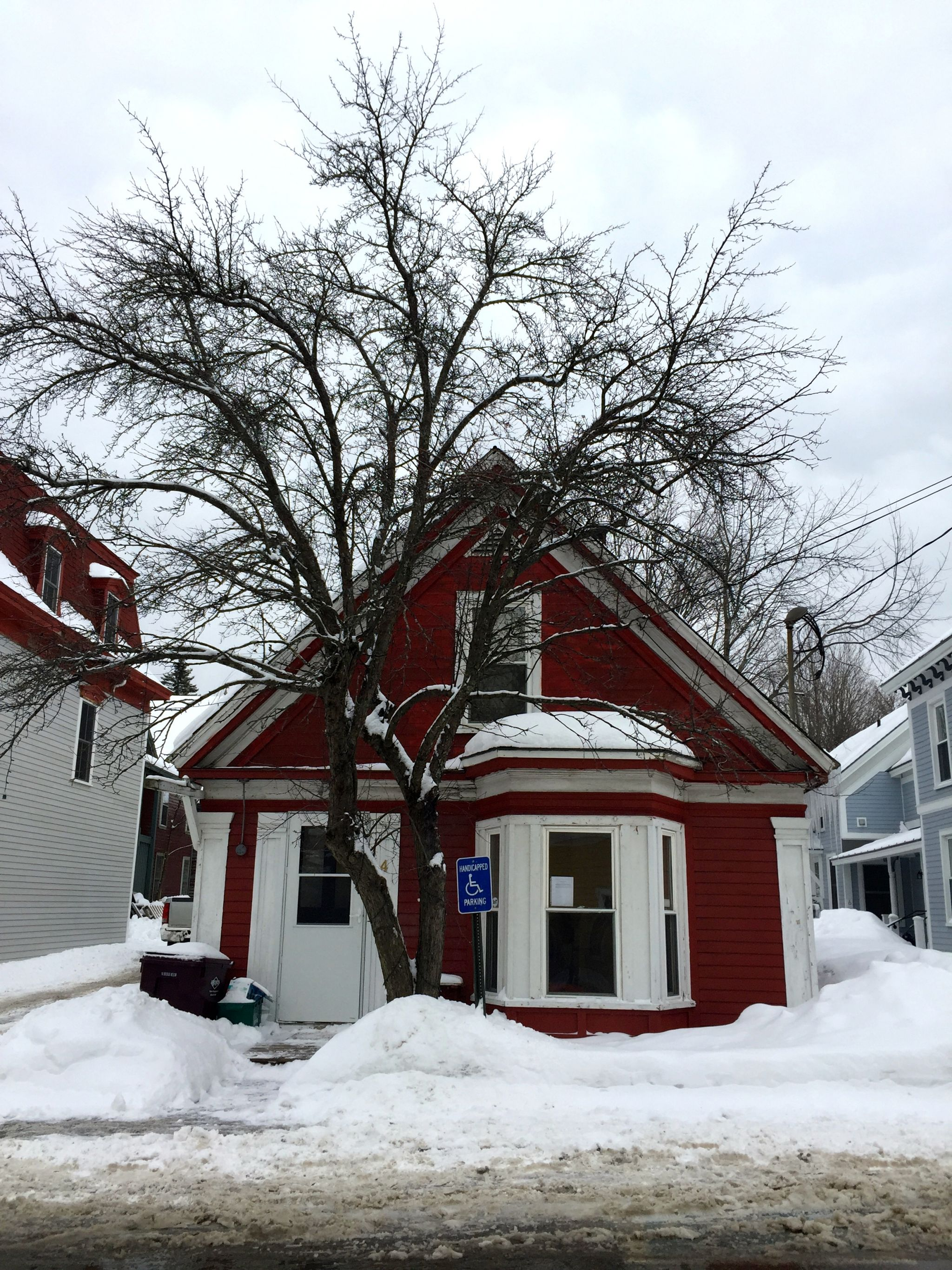 Snow covered house in Wilmington Vermont