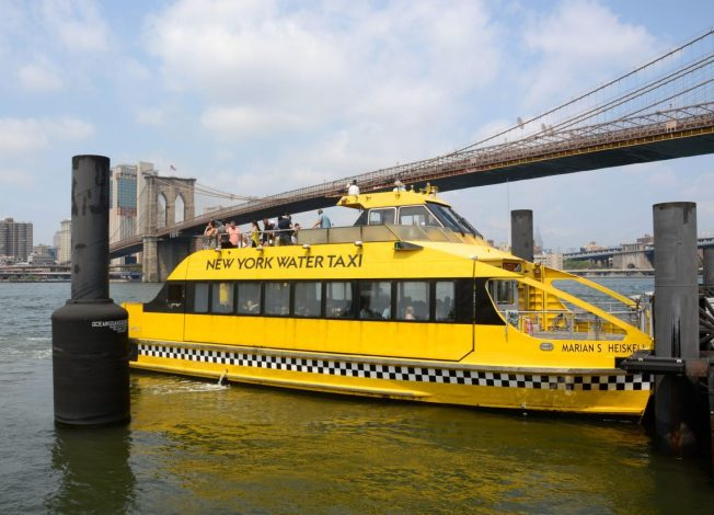 New York Water Taxi next to the Brooklyn Bridge