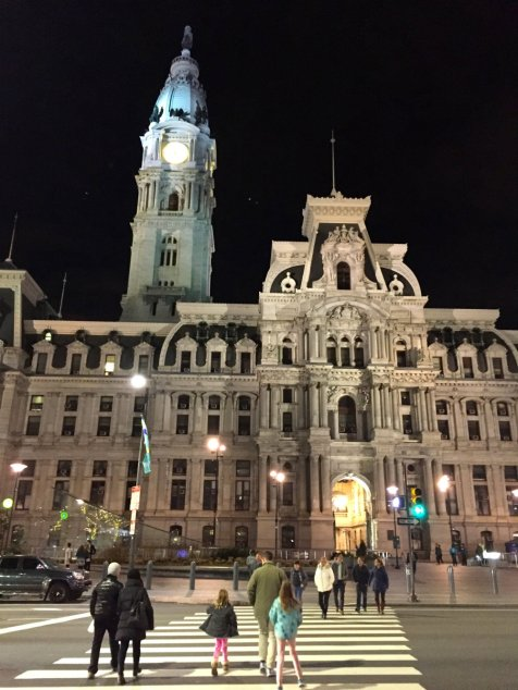 City Hall in Philadelphia by day and by night.