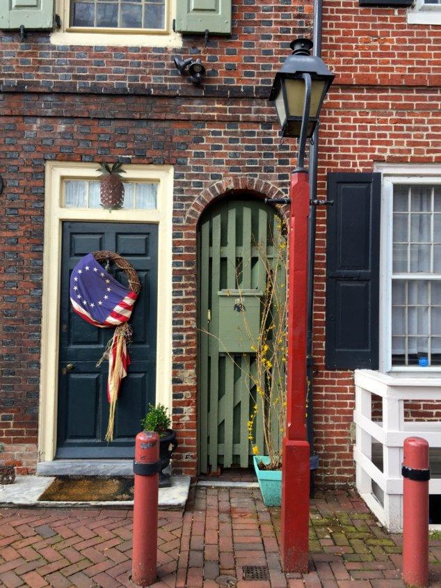 Admiring all the doors on Elfreth's Allley in Philadelphia.