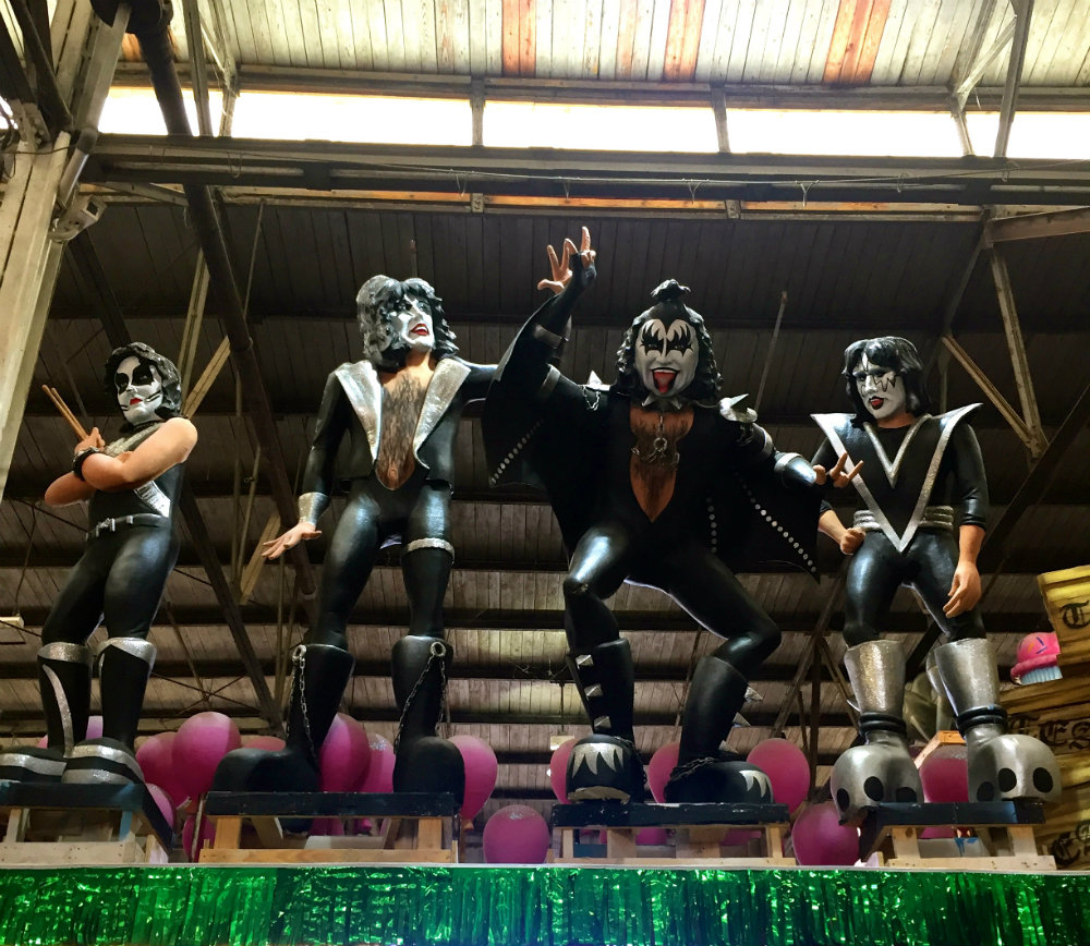 Looking up at the Kiss float at Mardi Gras World in New Orleans