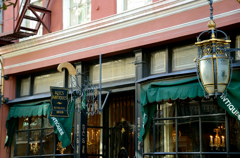 Antiquing on Royal Street in the French Quarter in New Orleans.