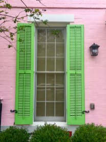 Pink and green house in the Garden District in New Orleans