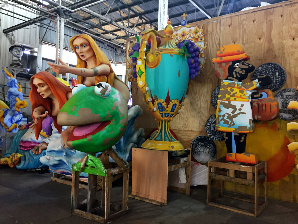 Taking a tour of Mardi Gras World with kids in New Orleans