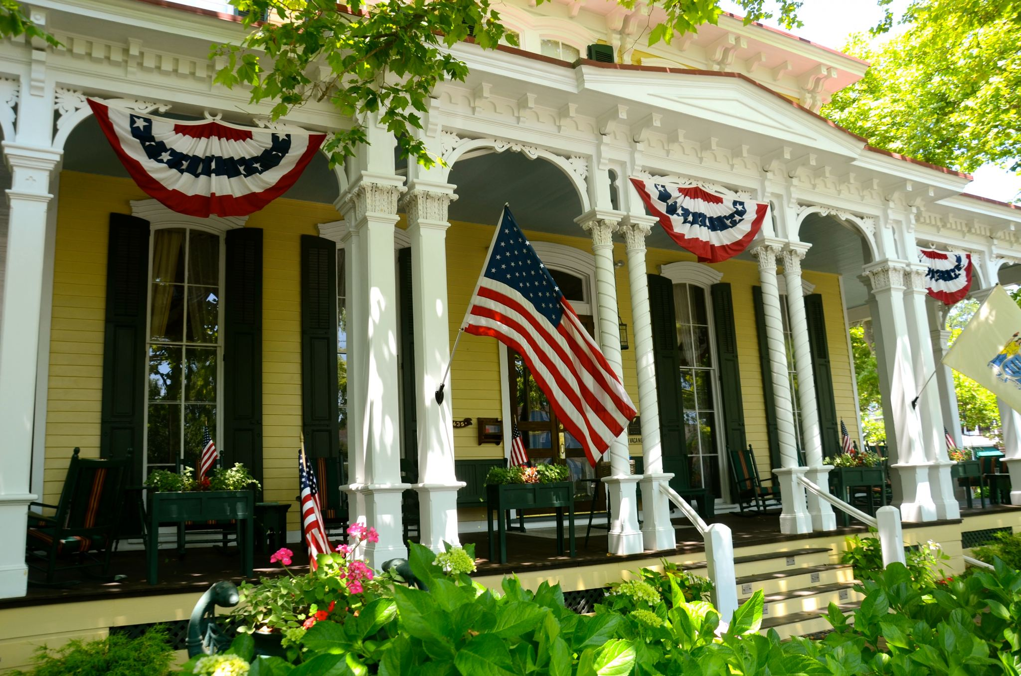 Cape May porch with Independence Day decor