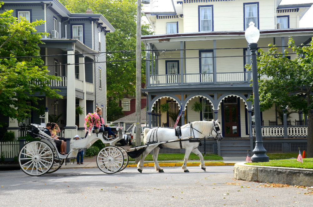 A horse drawn carriage walking by in the Cape May historic district.