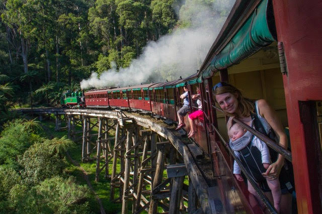 Taking the Puffing steam train in Australia.