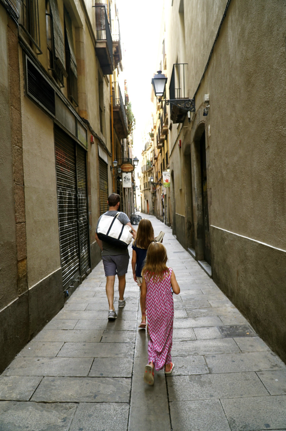 Walking the narrow streets of the Gothic Quarter in Barcelona.