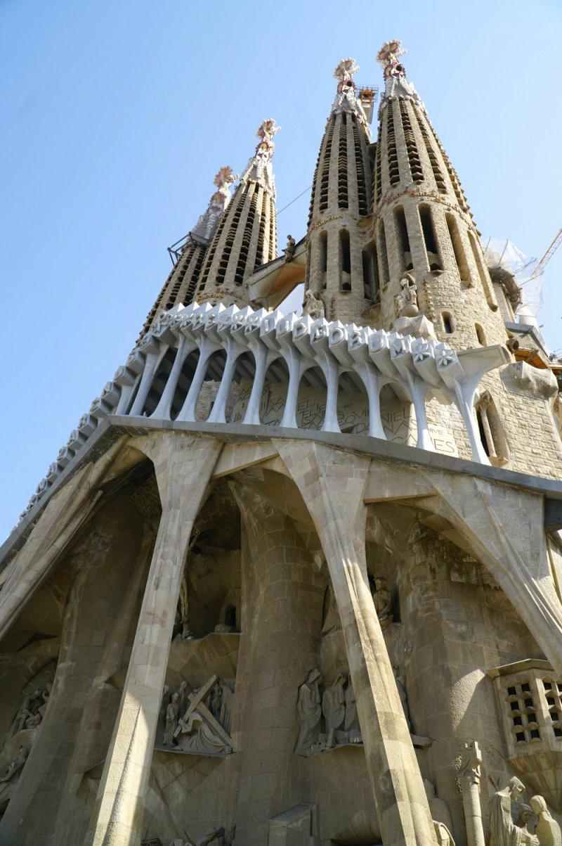 Looking up at the Sagrada Familia by Gaudi.