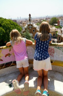 Exploring Park Guell with the girls in Barcelona.
