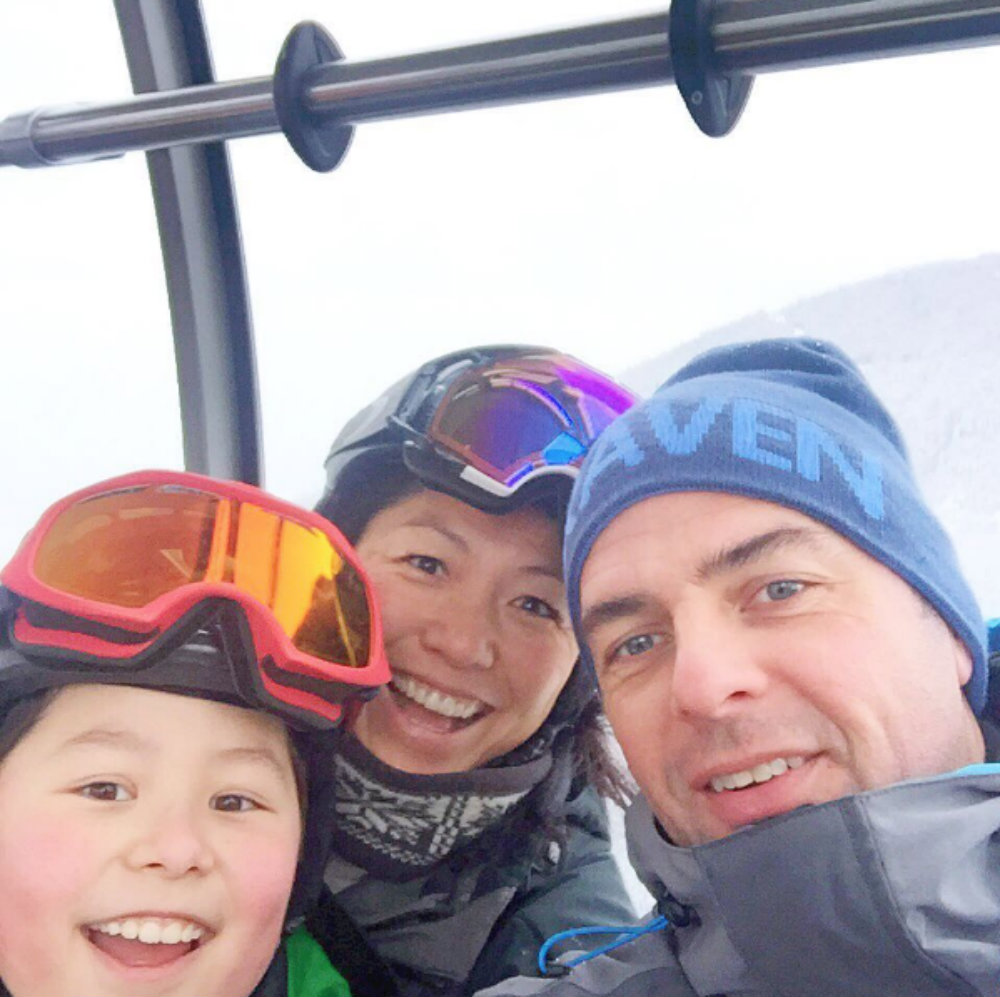 Family ski vacation at Whistler ski mountain in Canada.