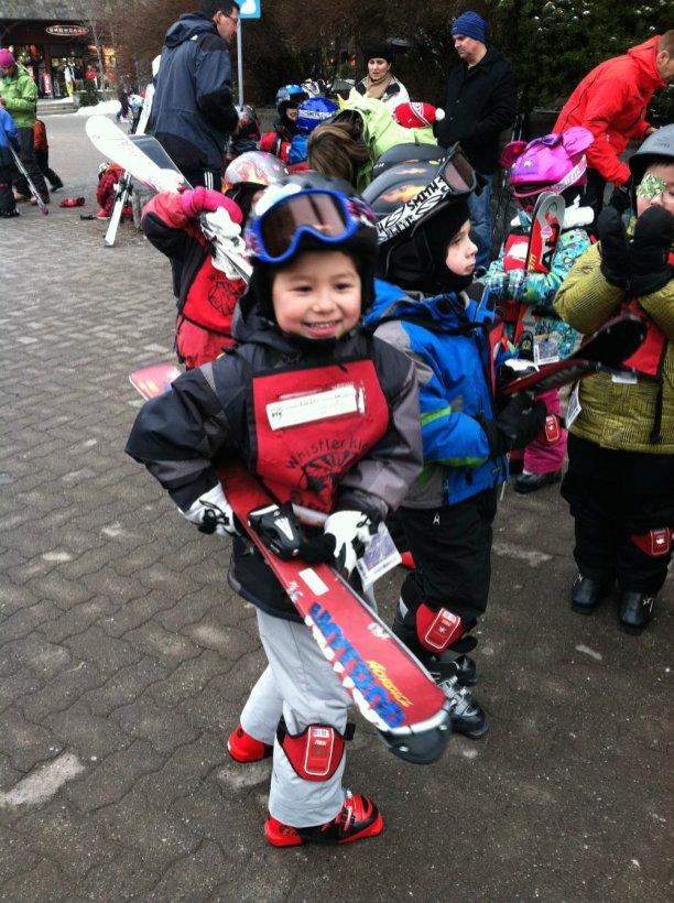 Ski school at Whistler mountain in Canada.