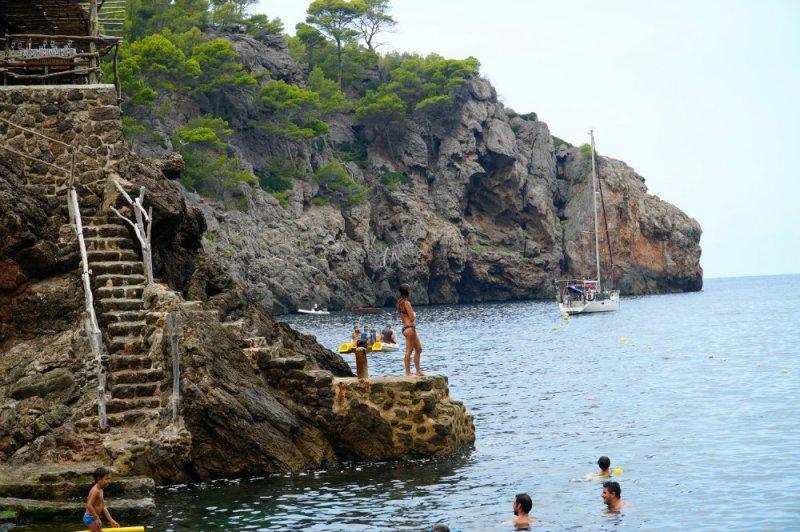 Swimming at Cala Deia in Mallorca.